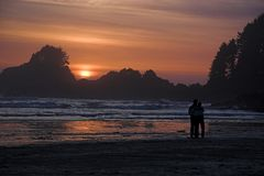 Lovers at sunset Stock Photos