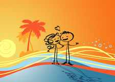Lovers and sunset Royalty Free Stock Images