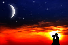 Lovers sunset royalty free stock images