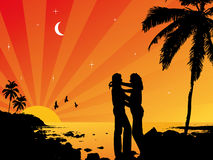 Lovers in the sunset. Vector illustration Royalty Free Stock Photography