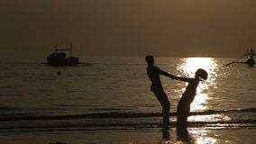 Lovers at sunset stock footage