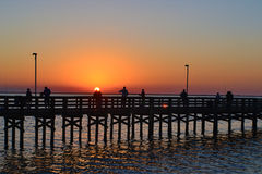 A lovers sunset. A photo from Clearwater Florida of a sunset on the pier Royalty Free Stock Photos