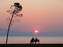 Lovers and sunset from sea. Couples near the seaside in sunset Royalty Free Stock Photography