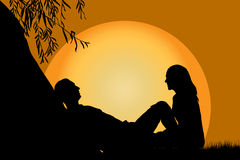 Lovers at sunset. Under a willow vector illustration