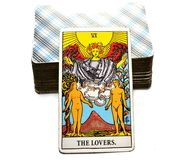 The Lovers Tarot Cards Love choices partnerships affection. The Lovers Tarot Cards is about Love choices partnerships affection togetherness going into business Stock Image