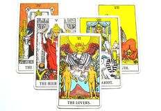 The Lovers Tarot Cards Love choices partnerships affection. The Lovers Tarot Cards is about Love choices partnerships affection togetherness going into business Stock Photography