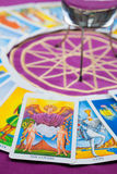 The Lovers, Tarot cards on a magical pentagram. Stock Photos