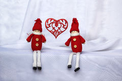 Lovers toy boy and girl. Two lovers toy boy and girl Royalty Free Stock Photo
