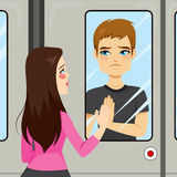 Lovers Train Scene Royalty Free Stock Images