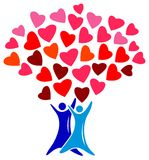 Lovers tree. Illustrated isolated line art lovers tree image royalty free illustration