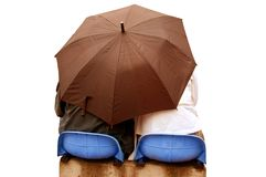 Lovers under umbrella Royalty Free Stock Image