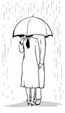 Lovers under umbrella Royalty Free Stock Photo