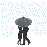 Lovers under an umbrella. Silhouette of two enamored with umbrella under the rain, illustration Stock Images