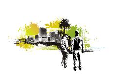 Lovers in the urban background. 2 lovers silhouettes holding their hands,urban city scape in the background with grunge ellements vector illustration