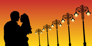 Lovers and vintage lampposts at sunset. Vector illustration with silhouette of loving couple. Bright gradient background royalty free illustration