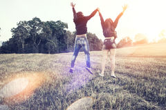 Lovers walk hand in hand on romantic evening sun, romantic atmos Royalty Free Stock Images