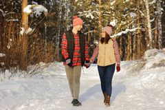 Lovers walk in the winter sunny forest. Path Royalty Free Stock Photo