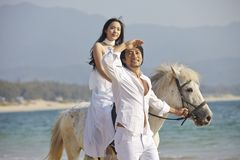 Lovers walking on beach with horse Stock Photography