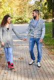 Lovers walking hand in hand in autumn park Stock Photos