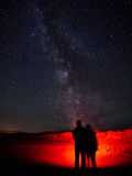 Lovers watching the Milky Way. Two lovers watch the Milky Way at the West coast of Ireland stock photography