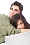 Lovers watching a movie on their laptop Stock Images
