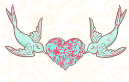 Lovers wedding birds with patterned heart Royalty Free Stock Photo
