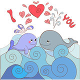 Lovers whales on a card for Valentine's day Royalty Free Stock Photos