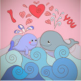 Lovers whales on a card for Valentine's day Stock Photos