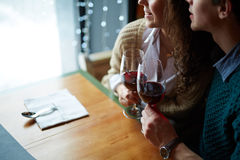 Lovers with wine Royalty Free Stock Photo