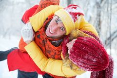 Lovers in winter park Stock Image