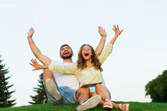 Lovers won the jackpot. Royalty Free Stock Image