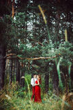 The lovers are in the woods Royalty Free Stock Image