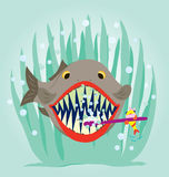 Loves Cleen Teeth. A small fish is cleaning a big fish teeth Stock Photos