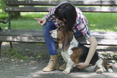 She loves dogs. Woman sits on a bench in the park with his beaut Royalty Free Stock Photo