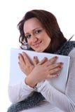 She loves her laptop Stock Images