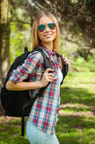 She loves hiking. Royalty Free Stock Photo