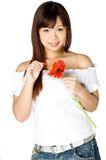 He Loves Me. An attractive young Asian woman in white top holding a red flower on white background Royalty Free Stock Image