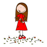 He loves me, he loves me not.. Girl plucking the petals of a flower one by one stock illustration