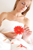 Loves me, loves me not. Young woman pulling petals off flower royalty free stock photo