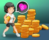 She loves money with coins background. vector illustration