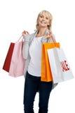 She loves shopping! Stock Photo