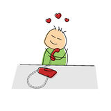 Lovesick cartoon figure chatting to his sweetheart. On a red landline telephone clasping it to his breast with a tender smile with hearts above the head Royalty Free Stock Photography