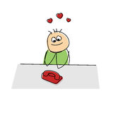 Lovesick cartoon figure sitting watching a phone. Adorable lovesick cartoon figure sitting at a table watching a telephone waiting for it to ring surrounded by Royalty Free Stock Photos