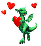 Lovesick Dragon - includes clipping path. 3D render of a dragon with hearts stock illustration