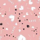 Romantic seamless pattern with hearts for your design. Wallpaper, card, website stock illustration