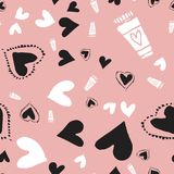 Romantic seamless pattern with hearts for your design. Wallpaper, card, website vector illustration