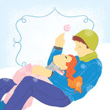 LoveTwo. Winter vector background with couple Royalty Free Stock Images