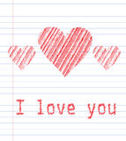 LoveU. Tree hearts in the notebook Stock Photography