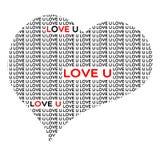 LoveUInHeartShape Fotografia de Stock Royalty Free