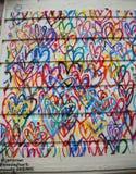 Lovewall-Wandgemälde der blutenden Herzen durch Künstler JGoldcrown in Soho in Manhattan Lizenzfreies Stockfoto